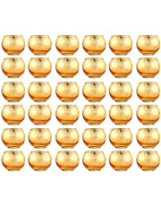 NUPTIO Okrągły świecznik wotywny Mercury - wykonany ze szkła rtęciowego z cętkowanym srebrnym wykończeniem - do dekoracji ślubnych lub dekoracji wnętrz