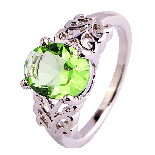 Psiroy Women's 925 Sterling Silver Oval Cut Created Green Amethyst Filled Anniversary Ring Size 7