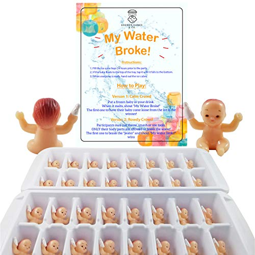 (My Water Broke Baby Shower Game with Tiny Babies for Ice Cubes, Caucasian, 32 People)