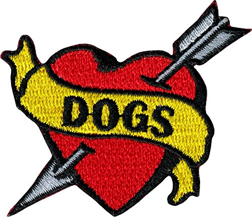 Dogs Banner on Heart with Arrow - Tattoo Flash Style - Embroidered Iron On or Sew On Patch ()