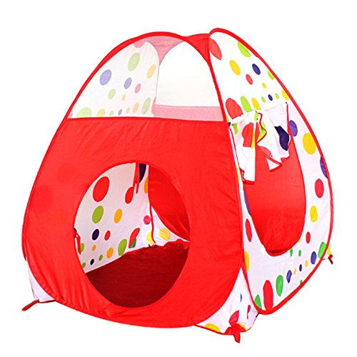 HITSAN 2 In 1 Play Tent 90cm Tunnel 120cm Kids Toddlers Pop Up Cubby Play House Indoor Outdoor Toy One Piece
