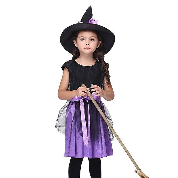 Deylaying Disfraz Bruja Niña Halloween Carnival Vestido y ...