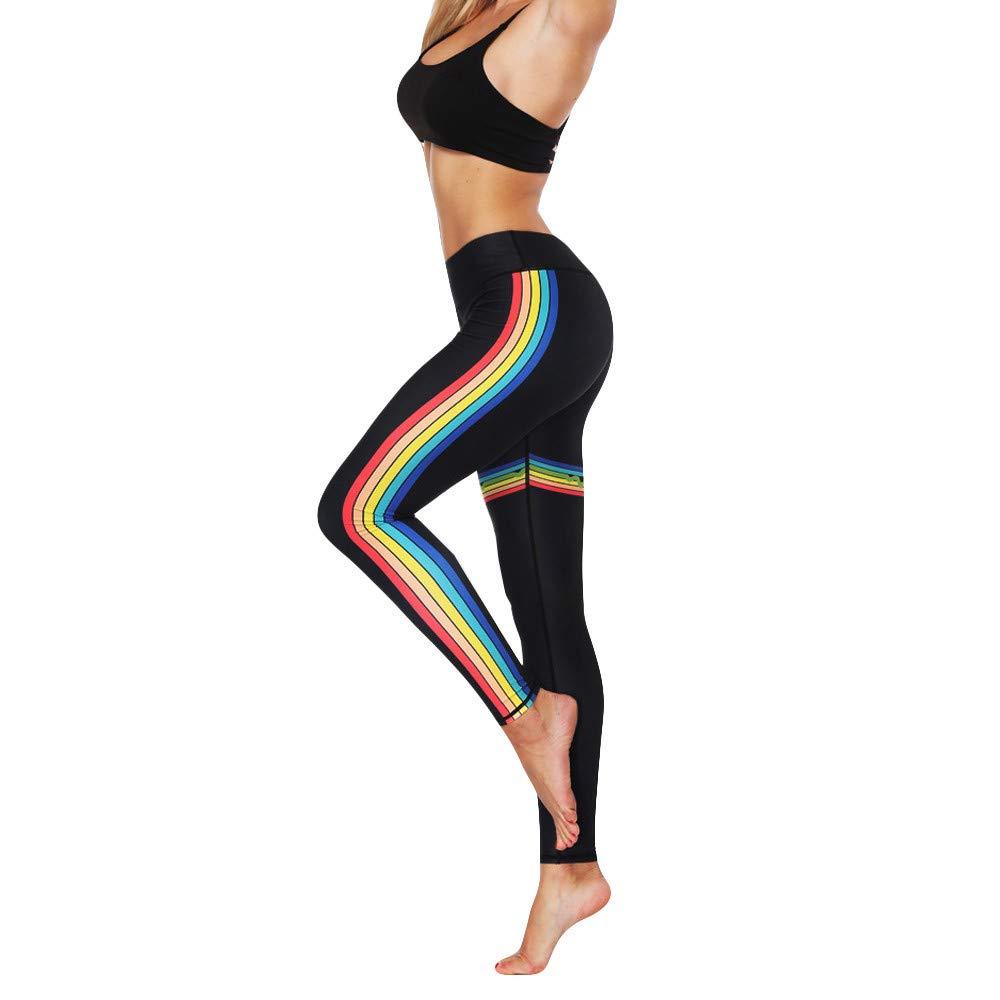 Crop Pants for Women Plus Size Women Fashion High Elasticity Print Rainbow Leggings Gym Active Pants Black S