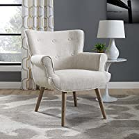 Modway EEI-2941-BEI Cloud Mid-Century Modern Upholstered Fabric Accent Arm Chair Beige