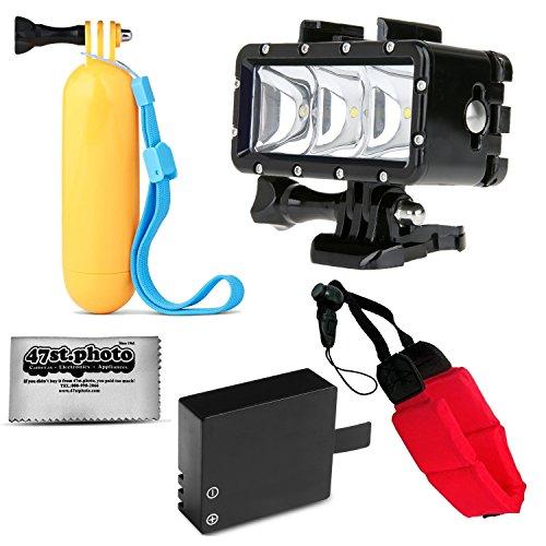 Opteka Floating Hand Grip + Waterproof LED Flash Light + Extra Battery + Wrist Strap for GoPro HERO4, HERO3, HERO2 Black, Silver, Session, SJ6000, SJ4000 and Similar Action Cameras