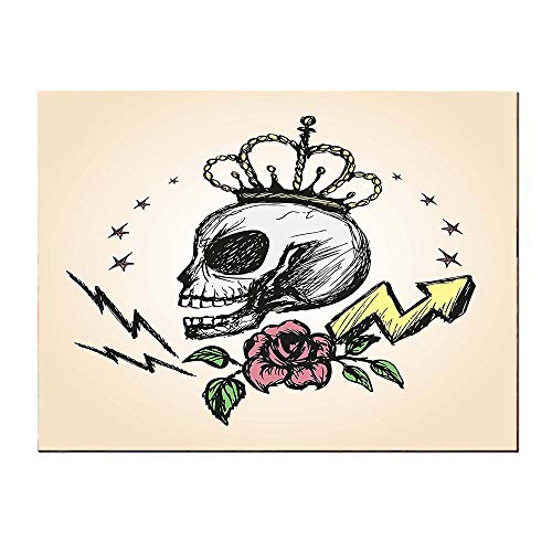 SATVSHOP Single painting-16Lx12W-Skull Mexican Folk Art Inspired Skeleton with Crown and ose Halloween Artsy Dign Yellow Peach.Self-Adhesive backplane/Detachable Modern Decorative Art.]()