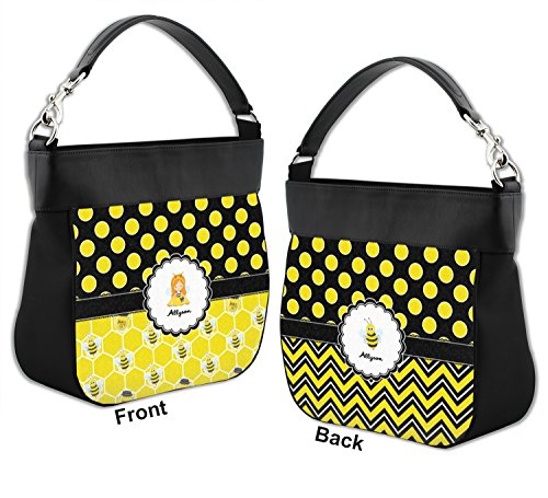 Trim Front amp; amp; Bees Purse Honeycomb Polka Hobo Personalized Genuine Leather w Dots Back UFqzw