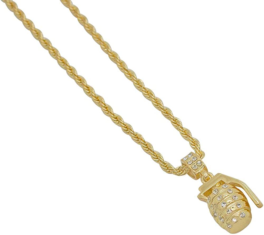 Grenade Pendant Necklace with 24 Rope Chain