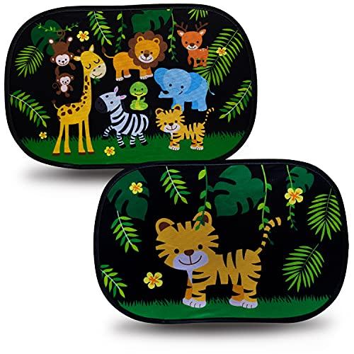 HECKBO® – Zelfklevende autozonneklep (zonder zuignappen) – Zonneklep voor auto's [2 stuks], 2 Motieven: Jungle & Tiger…