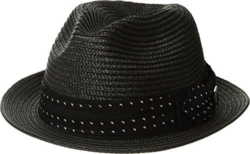 STACY ADAMS Mens Poly Braid Pinch Front Fedora with Fancy Bow Black MD One - Front Fedora Pinch