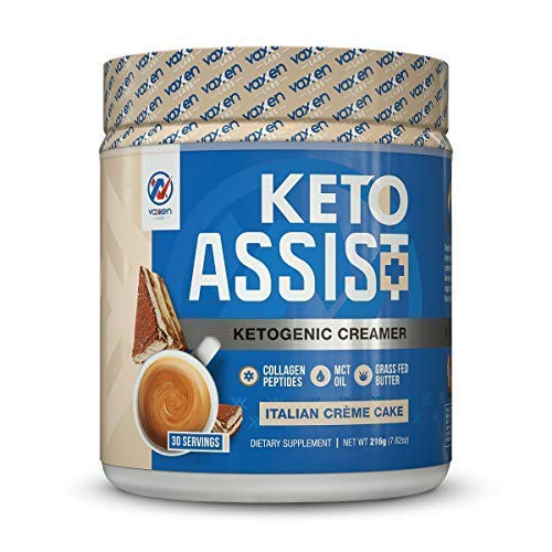 Keto Creamer for Coffee and Tea (30 Servings) – Contains Grass-Fed Butter, Coconut Oil, MCT Oil & Collagen Peptides – Zero Carbs, Easy to Mix, Absorb and Digest, Italian Crème Cake Flavor For Sale