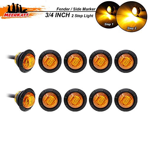Meerkatt (Pack of 10) 3/4 Inch Round Amber Mini Side Marker Lights Fender Turn Signal Clearance Lamp Universal for Pickup Truck ATV Trailer RV Bus Lorry Camper SUV Waterproof 12v DC High Power 3led-HL
