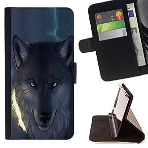 - Blue Eye Glowing Wolf Werewolf/ Personalizada del estilo del dise???¡¯???¡Ào de la PU Caso de encargo del cuero del tir???¡¯????n del s - Cao - For LG N
