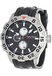 Nautica Men's N15564G BFD 100 Multifunction Stainless Steel Black Dial Watch