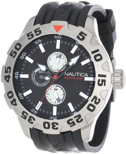 Nautica Men's N15564G BFD 100 Multifunction Stainless Steel Black Dial Watch
