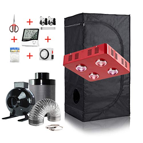 GreenHouser Grow Tent Room Complete Kit Hydroponic Growing System LED 300W/ 600W/ 800W Grow Light + 4