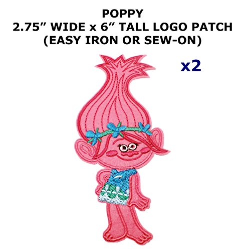 Assassin Creed Costume Diy (2 PCS Poppy Trolls Cartoon Theme DIY Iron / Sew-on Decorative Applique Patches)
