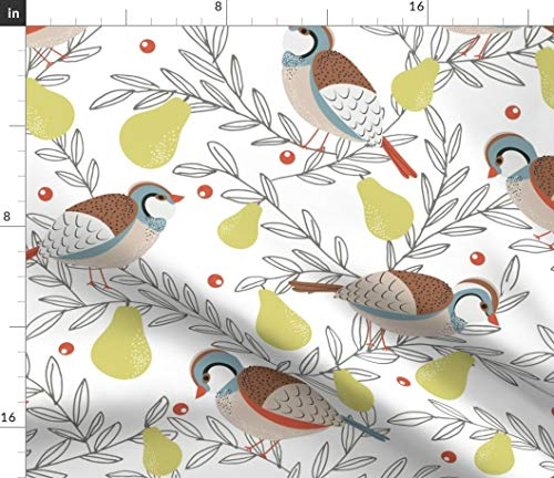 Spoonflower Christmas Partridge Fabric - in A Pear Tree Holiday Xmas Bird Rustic Print on Fabric by The Yard - Basketweave Cotton Canvas for Upholstery Home Decor Bottomweight Apparel