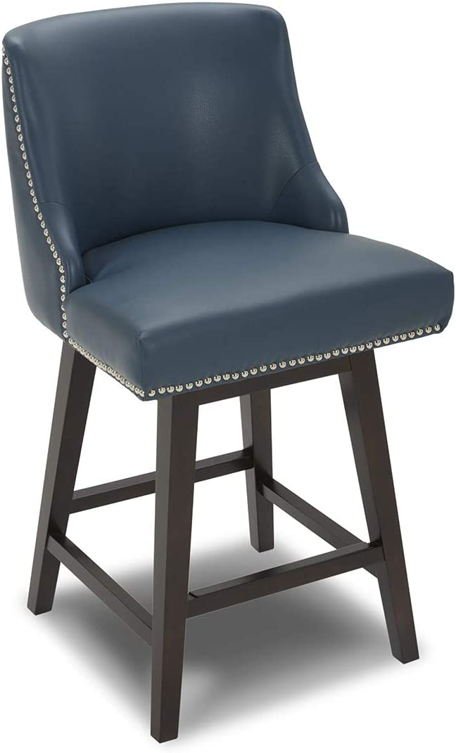 CHITA Counter Height Swivel Barstool, Upholstered Leather Stool, 26 H Seat Height, Dark Blue