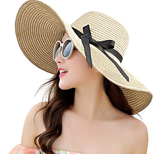 Womens Straw Hat Wide Brim Floppy Beach Cap Adjustable Sun Hat for Women UPF 50+ (Bowknot&Beige)
