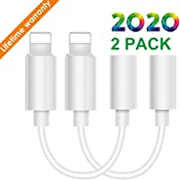 (2Pack) for iPhone Earphone Audio Aux Adapter Headphone Jack Converter for iPhone 11/7/7Plus/ 8/8Plus/X/10/XR/Xs Dongle Headphone Adapter for iPhone Connector Adapter to 3.5 mm