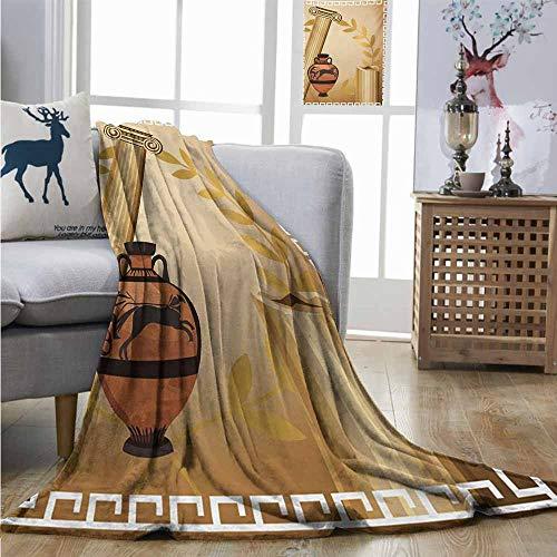 Homrkey Super Soft Lightweight Blanket Toga Party Antique Greek Columns Vase Olive Branch Hellenic Heritage Icons Fuzzy Blanket W40 xL60 Pale Brown Cinnamon White