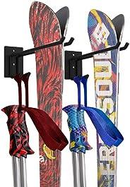 Ski Storage Rack with Ski Poles Storage Rack Wall Mount Heavy Duty Metal 2 Pairs Snowboard Storage Hanger for