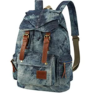8a22566ddb6a Amazon.com | VBG VBIGER Canvas Backpack Vintage Canvas Leather ...