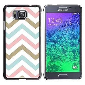 YiPhone /// Prima de resorte delgada de la cubierta del caso de Shell Armor - Pink Gold Baby Blue White Pattern - Samsung GALAXY ALPHA G850