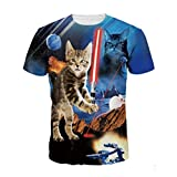 Chiclook Cool Unisex Harajuku Hip Hop 3D Funny Cat Clothing Short Sleeve Swag Top