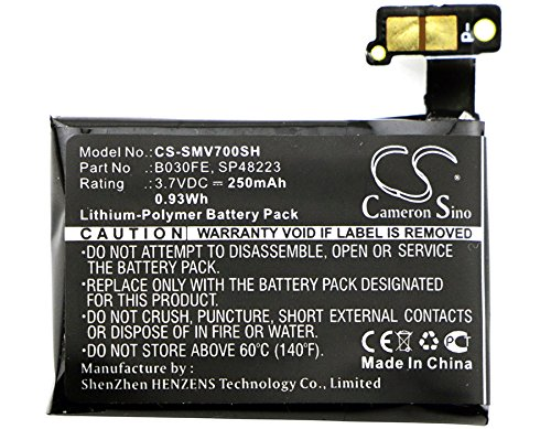 Cameron Sino Li-Polymer 3.70V 250mAh / 0.93Wh Replacement Smartwatch Battery Compatible With Samsung B030FE/GH43-03992A/SP48223/Gear 1/SM-V700