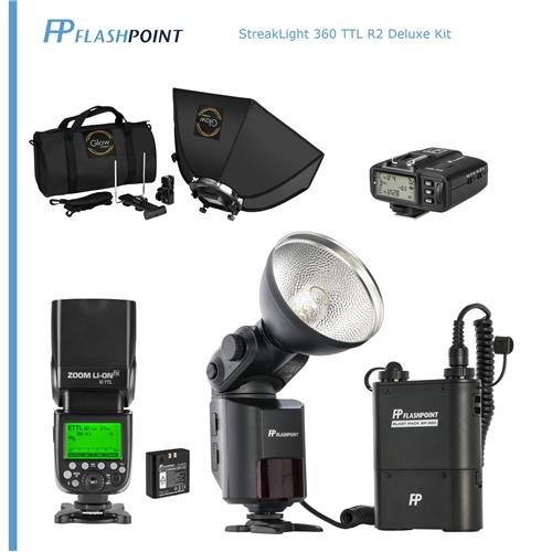 Flashpoint StreakLight 360 Ws Deluxe Flash TTL R2 Kit for Canon - Kit Includes: BP-960 Power Pack, Zoom Li-on R2 Flash, R2 Transmitter and Glow 24