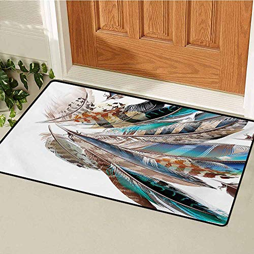 GUUVOR Feathers Inlet Outdoor Door mat Vaned Types and Natal Contour Flight Bird Feathers and Animal Skin Element Print Catch dust Snow and mud W47.2 x L60 Inch Teal Brown
