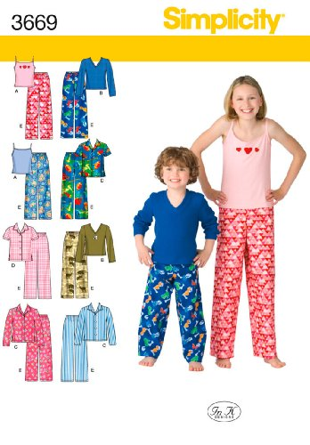 - Simplicity In K Designs Pattern 3669 Boys and Girls Pants, Shirt, Knit Top and Tank Top Sizes 7-8-10-12-14