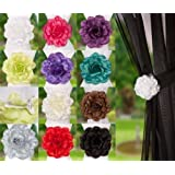 Clip-On Rose Flower Tie Backs / Holdbacks 10 Colours Available For Voile & Net Curtain Panels (Cream)