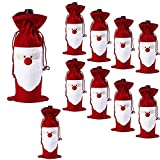 D-Foxes 10PC Christmas Santa Claus Wine Bottle Cover Bags Home Party Decoration