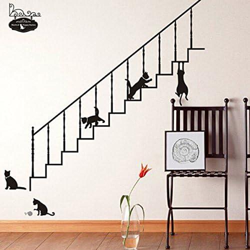 Bluelover Casa Escalera Negra DIY Gatos Extraíble Pared Pegatina ...