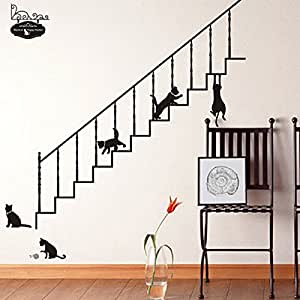 Bluelover Casa Escalera Negra DIY Gatos Extraíble Pared Pegatina Decoración Etiqueta Arte: Amazon.es: Hogar