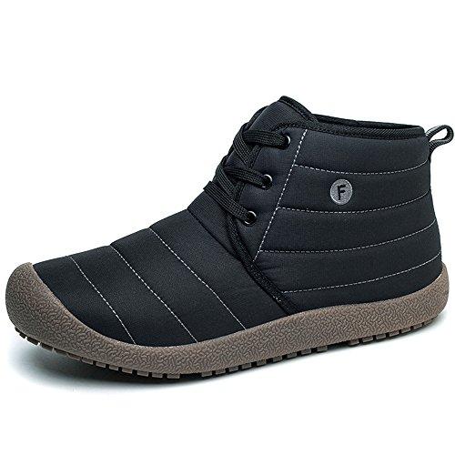 Men Wide Anti Waterproof Lace Women Black Boots EnllerviiD Slip Warm up Booties Winter 56UwAq