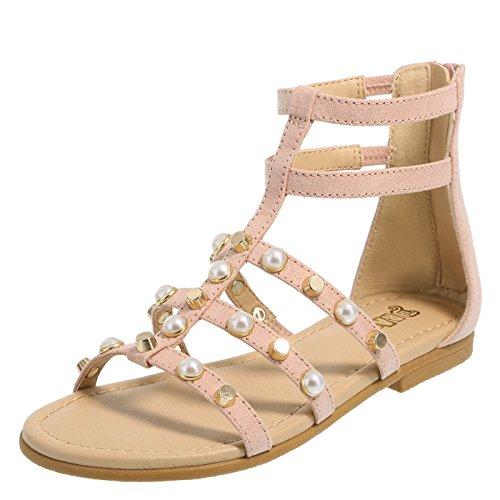 Brash Blush Girls' Electra Pearle Gladiator Sandal 4 Regular (Pink Youth Girls Sandals)