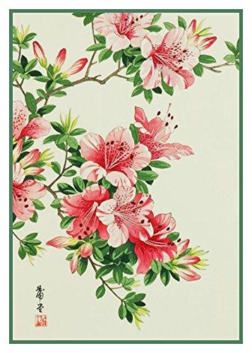 (Orenco Originals Tanigami Konan Asian Pink Azalea Flowers Counted Cross Stitch Pattern)