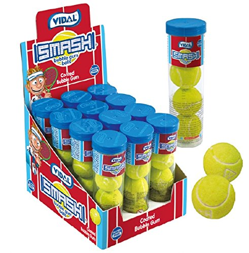 Tennis Bubble Gumballs Favors 12 Packs - 4 Gumballs in 1 Container 12 x 4 Count Packs