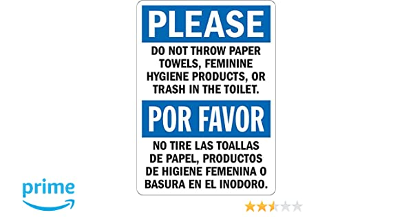 Please: Do not Throw Paper or Trash in Toilet, Bilingual Sign, 5
