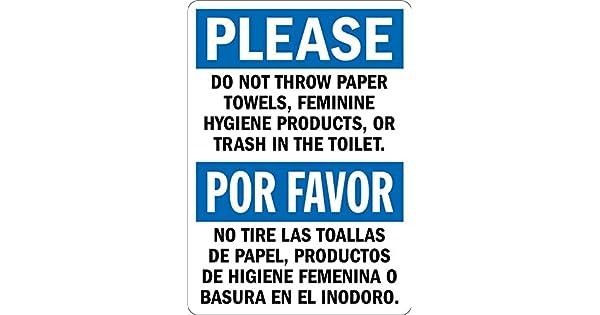 Amazon.com: Por favor: no tirar papel o saltar en el inodoro ...