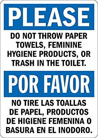 """Please: Do not Throw Paper or Trash in Toilet, Bilingual Sign, 5"""""""