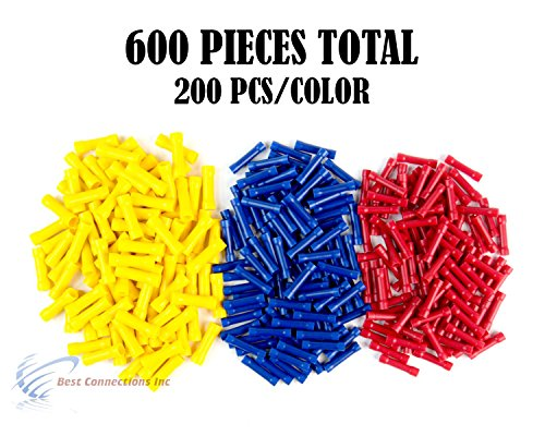 600 PCS Red Blue Yellow Vinyl Butt Connector 22-10 Gauge 12V Electrical Install by Install Bay by Metra Electronics
