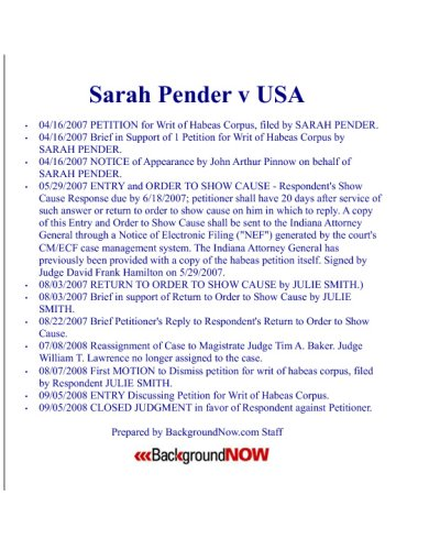 Sarah Pender V USA: The Federal Court Files Documenting Sarah's Battle Against The USA.