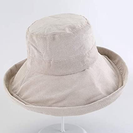 89efda3ed5c Image Unavailable. Image not available for. Color  HeroStore Autumn Winter  Bucket Hats Big Wide Brim Sun Hats for Women Solid Plain Corduroy Fishing