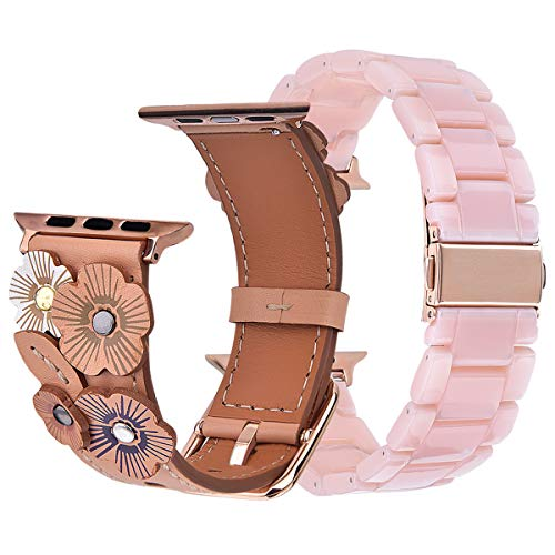 V-Moro Compatible iWatch Band 38mm 40mm Women, Soft Genuine Leather Strap with Tea Rose + Resin Bracelet Wristband for Apple iWatch Series 4 Series 3, Series 2, Series 1 (Pink+Beige, - Pack Set Wristband 3