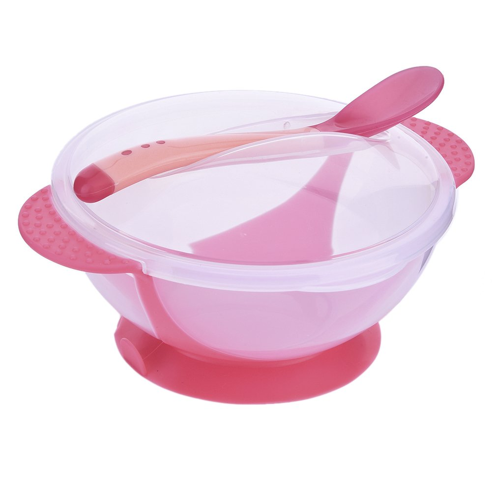 Greencolourful Practical Baby Suction Bowl Children Feeding Bowl with Sucker Bottom and Heat Sensing Feeding Spoons Pink